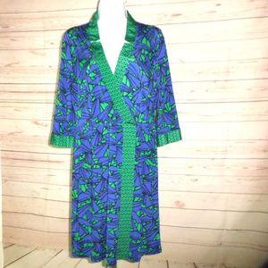 Nine West Blue Green Printed Wrap Style Dress 10